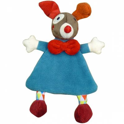 Doudou plat Gustave le clown bleu Magic Circus (29 cm) Ebulobo