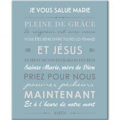 Tableau de prière Je vous salue Marie bleu glacier (33 x 41 cm)