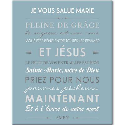 Tableau de prière Je vous salue Marie bleu glacier (33 x 41 cm)  par Mes Mots Déco