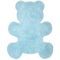 Tapis lavable ours Teddy bleu (80 x 100 cm)