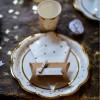Assiettes en carton Doré pois et festons (8 pièces)  par Arty Fêtes Factory