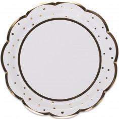 Assiettes en carton Doré pois et festons (8 pièces)