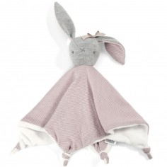 Doudou plat Welcome to The World lapin rose (28 x 30 cm)