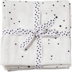 Lot de 2 langes Dreamy dots blanc (70 x 70 cm)