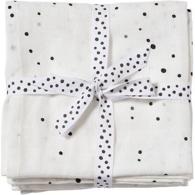 Lot de 2 langes Dreamy dots blanc (70 x 70 cm)  par Done by Deer