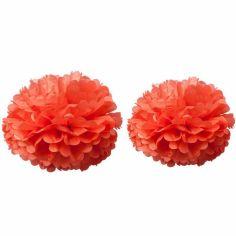 Pompons papier de soie corail (2 pièces)