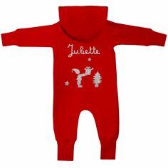 Combinaison hiver façon sweat Noël rouge personnalisable (6-12 mois : 66-76 cm)