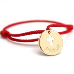 Bracelet cordon Croix ivoire plaqué or 10-14 cm (personnalisable)