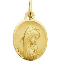 Médaille ovale Vierge personnalisable 16 mm (or jaune 375°)