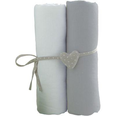 Lot de 2 draps housses blanc et gris (70 x 140 cm)  par Babycalin