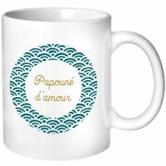 Mug pour les papas motif éventail bleu pétrole (personnalisable)