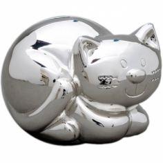 Tirelire Chat personnalisable (métal argenté)