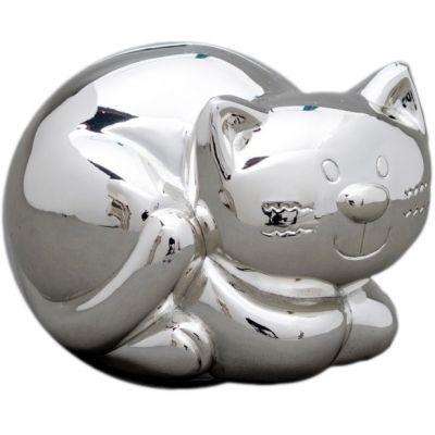 Tirelire Chat personnalisable (métal argenté)  par Daniel Crégut