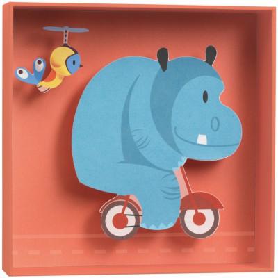 tableau relief hippopotame little big room by djeco. Black Bedroom Furniture Sets. Home Design Ideas