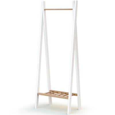 Portant à vêtements en bois de hêtre Essentiel blanc et beige  par AT4