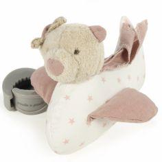 Doudou musical à suspendre Amelie ours rose