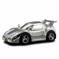 Tirelire Voiture de course personnalisable (métal argenté)