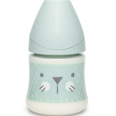 Biberon Hygge Baby moustaches lapin vert (150 ml)  par Suavinex