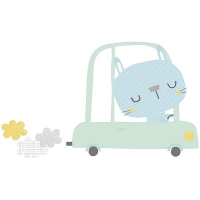 Sticker lapin en voiture Smile, It's raining by Dawn Machell
