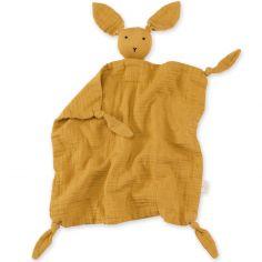 Doudou plat attache sucette Bunny ocre golden (40 cm)