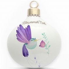 Boule en porcelaine Mon premier Noël Colibri