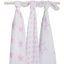 Lot de 3 maxi langes hydrophiles Little star étoile rose (115 x 115 cm)  par Jollein