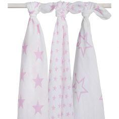 Lot de 3 maxi langes hydrophiles Little star étoile rose (115 x 115 cm)