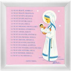 Tableau religieux Prière Sainte Teresa rose (15 x 15 cm)