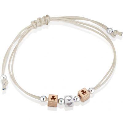 Bracelet cordon beige 2 cubes garçon 1 cube coeur (or rose 375° et argent 925°)  par leBebé
