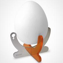 Coquetier design Coco orange modèle fille ou garçon  (argent rhodié 925° et altuglas)  par Mikado