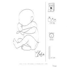 Affiche de naissance Faire-part bébé A4 (personnalisable)