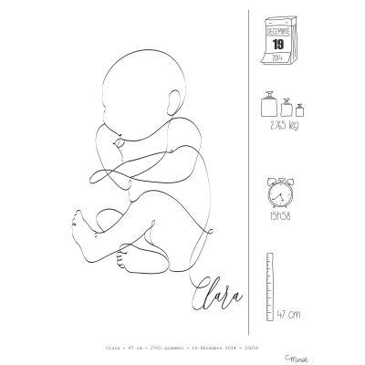Affiche de naissance Faire-part bébé A4 (personnalisable)  par Minoé