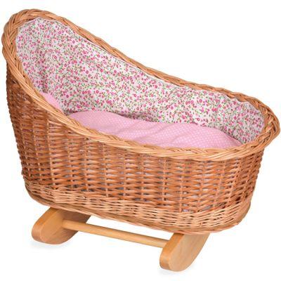Berceau pour poupée en osier fleurs roses  par Egmont Toys