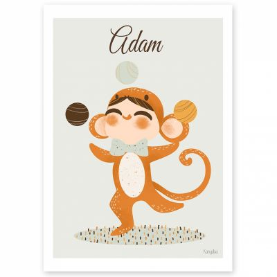 Affiche A4 Les adorables costumés Le singe (personnalisable)  par Kanzilue