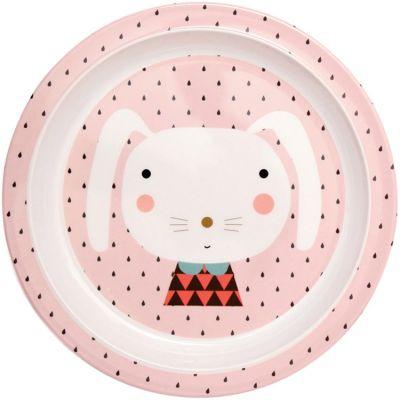 Assiette plate en mélamine Lapin rose  par Petit Monkey