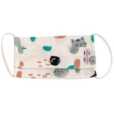 Masque de protection lavable en coton bio chat gris (4-7 ans)