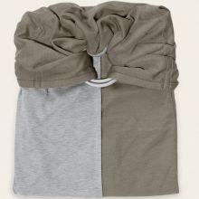 Petite écharpe sans noeud vert olive et gris chiné  par Je Porte Mon Bébé / Love Radius