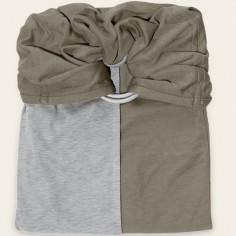 Petite écharpe sans noeud vert olive et gris chiné
