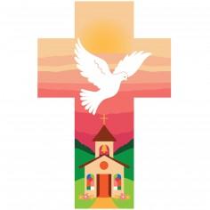 Croix en bois Colombe et Eglise rose
