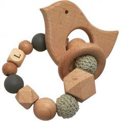 Anneau de dentition en bois Oiseau mint et ardoise (personnalisable)