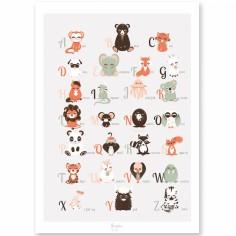 Affiche A3 abécédaire des animaux anglais