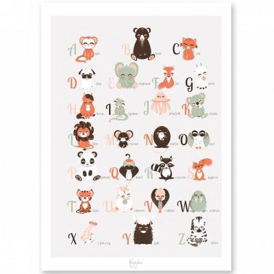 Affiche A3 abécédaire des animaux anglais  par Kanzilue