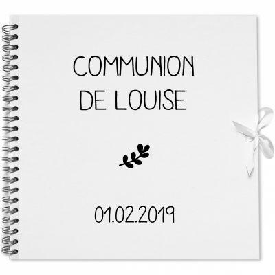 Album photo communion personnalisable blanc et noir (30 x 30 cm) Les Griottes