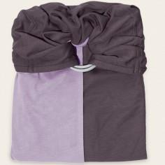 Petite écharpe sans noeud bleu lavande et marron glacé