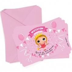 Lot de 6 cartes d'invitation Princesse