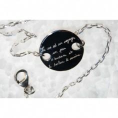 Bracelet empreinte pastille 2 trous ronds sur chaîne simple 18 cm (or blanc 750°)