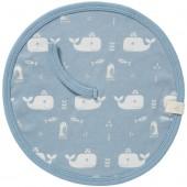 Attache sucette baleine bleu en coton bio - Fresk