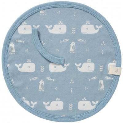Attache sucette baleine bleu en coton bio  par Fresk