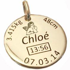 Médaille de naissance ange personnalisable (or jaune 375°)