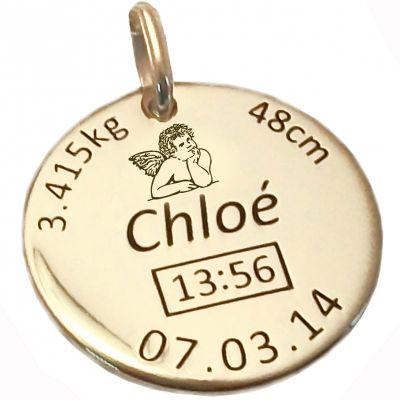 Médaille de naissance ange personnalisable (or jaune 375°)  par Alomi